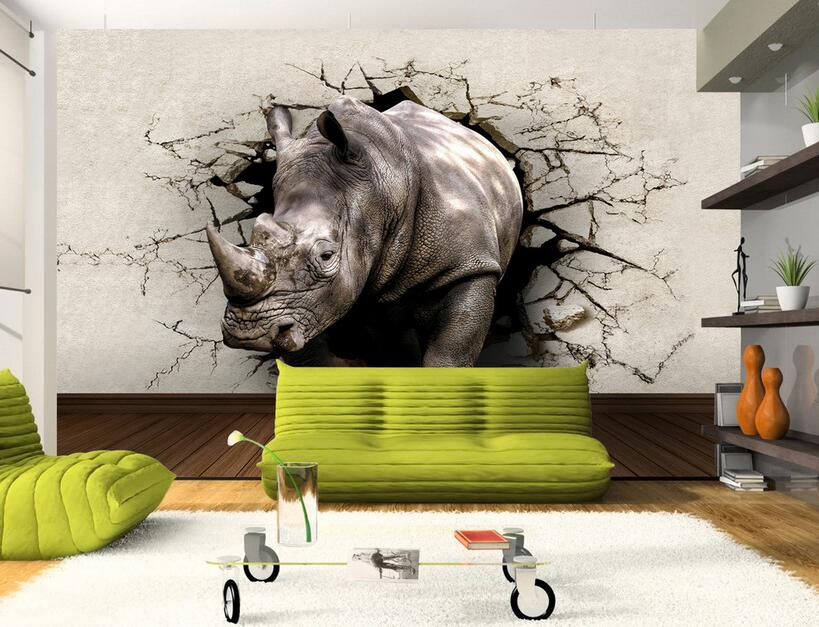 Custom photo 3d wallpaper Non-woven mural picture wall sticker 3 d Rhino hole in the wall painting 3d wall room murals wallpaper the woman in the photo