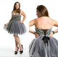 2016 Custom Made A Line Tulle Gray Cocktail Dresses Sweetheart Pearls Bodice Sexy Backless Lace-Up Back Mini Homecoming Dresses