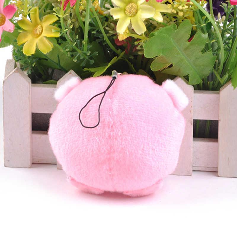 1 pc anel dos desenhos animados rosa porco bola chaveiro pompom pingente menina feminina saco de jóias festa presente do miúdo brinquedo