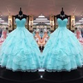 Sexy Sweetheart Bodice Corset Organza Layered Quinceanera Dresses Ball Gowns 2017