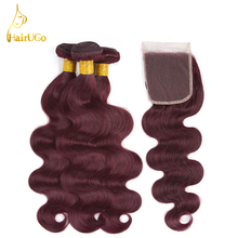 HairUGo Hair Pre-colored Malaysia Hair Body Wave 99J Color 3 Bundles With Clousre Non Remy 8-26 Inch Human Hair Extensions
