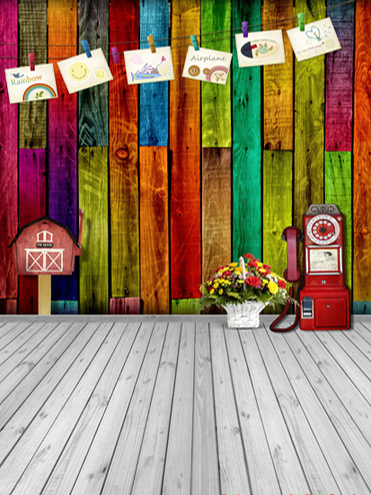 Colored Wooden Board Wall Floor Children Baby Newborn Custom Photography for Photo Studio Vinyl Cloth Backdrop Photo Backgrounds