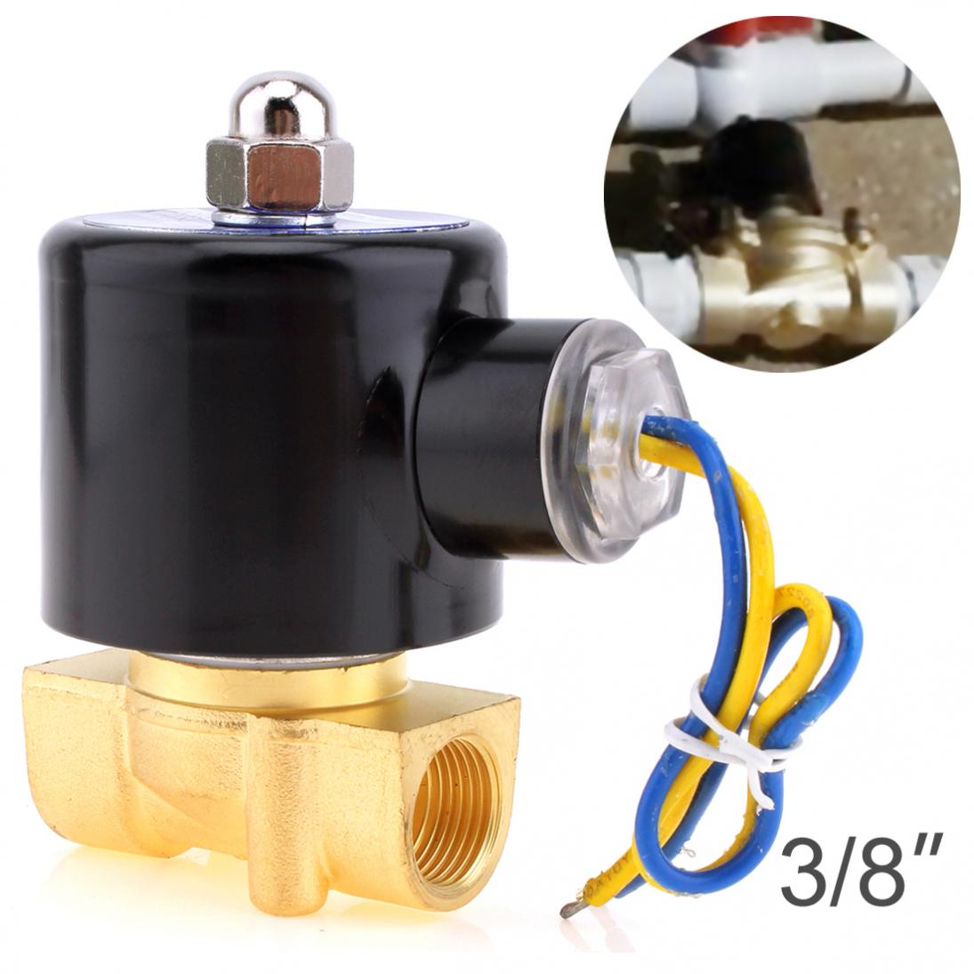 Solenoid Valve DC 12V 3/8 NPT N/C Brass Normally Closed Electric Valve for Water Oil Air Diesel-Gas FuelsSolenoid Valve DC 12V 3/8 NPT N/C Brass Normally Closed Electric Valve for Water Oil Air Diesel-Gas Fuels