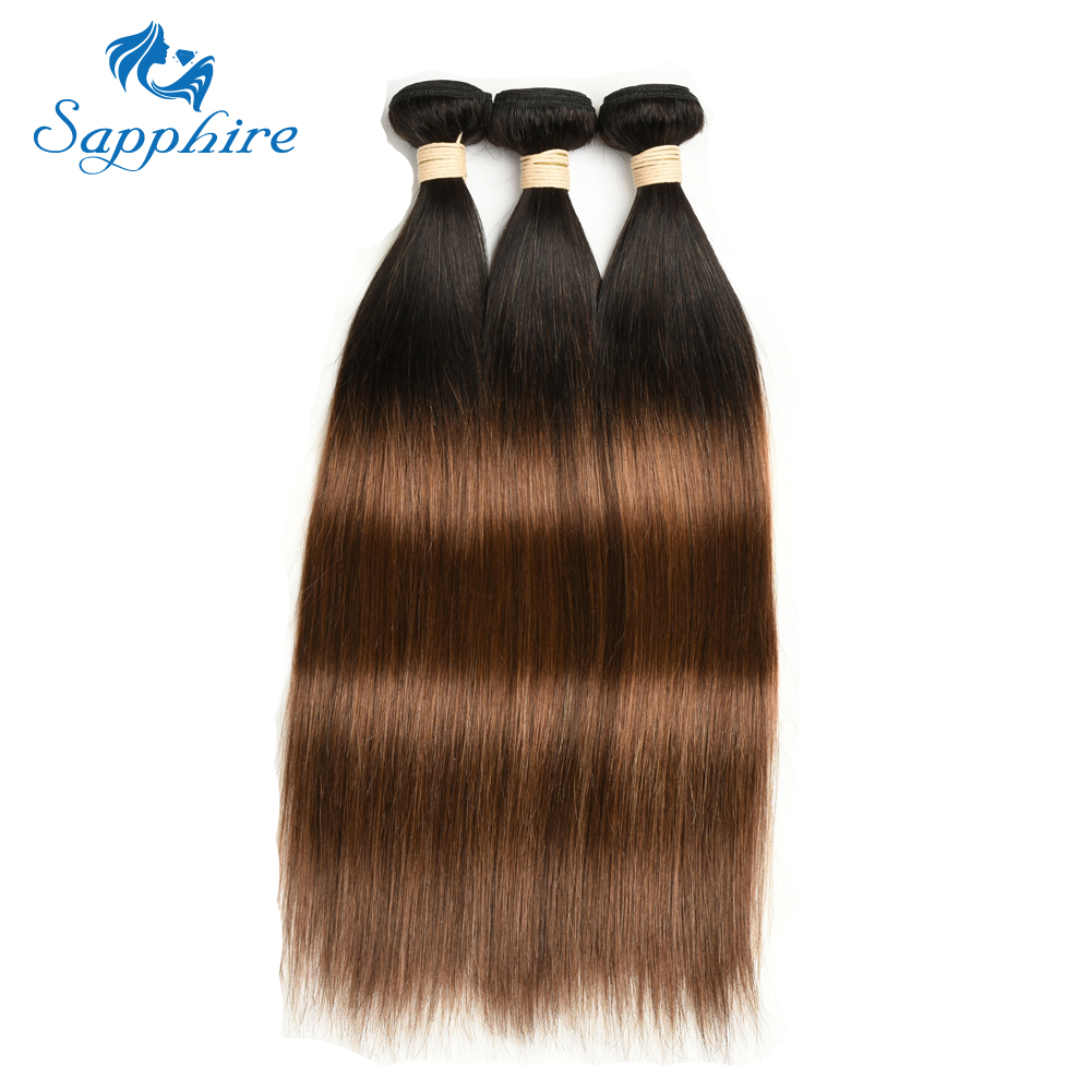 Sapphire Remy Hair 3PCS Extensions T1B 4 30 Ombre Brown Color Brazilian Straight Remy Hair Bundles