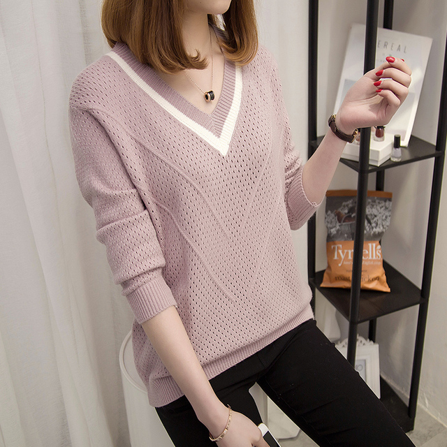 Women sweaters and pullovers 2018 Spring Autumn Korean hollow sweaters womens loose knitted sweater female v-neck pullover tops