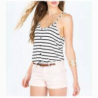 2017 Summer Women T Shirt Simple Black White Stripes Printed U Neck Straps Camisole Vest Sexy