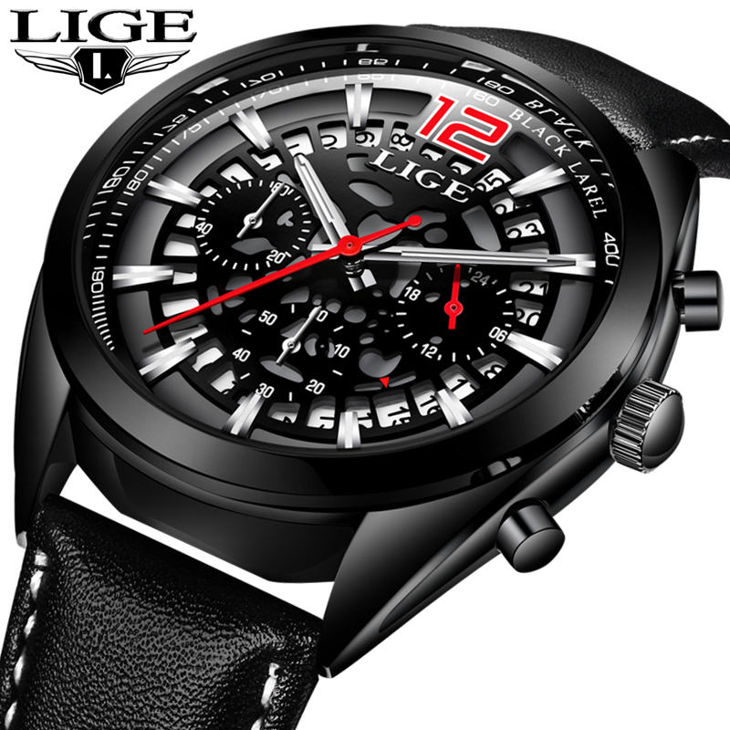 LIGE Fashion Sport Mens Watches Top Brand Luxury Quartz Watch Men Casual Leather Waterproof Business Watches Relogio Masculino baosaili fashion casual mens watches top brand luxury leather business quartz watch men wristwatch relogio masculino bs1038