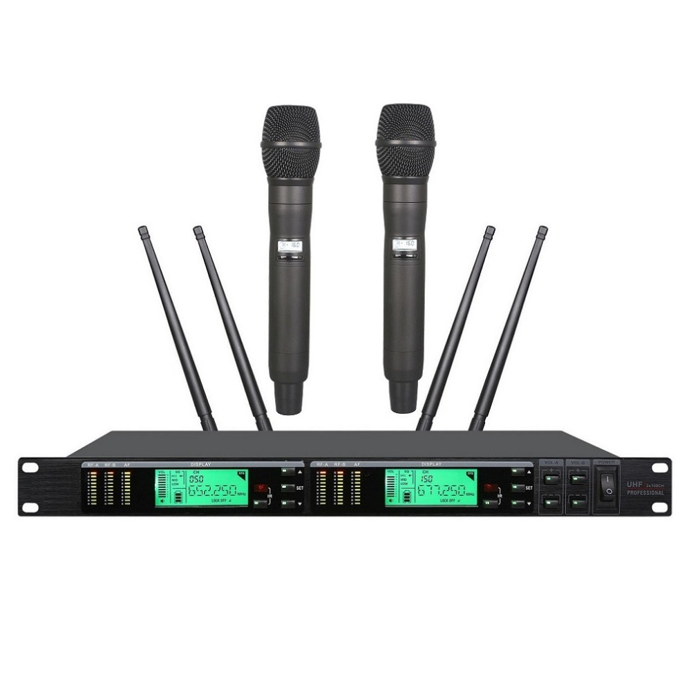 Bolymic Professional UR24D True Diversity UR4D With Dual Handheld Wireless Microphone For Stage Performance