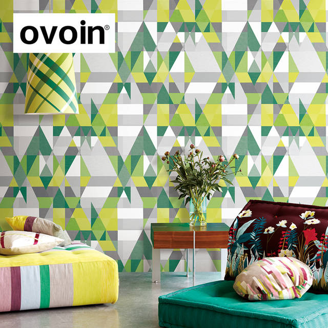 Online Shop Green Yellow Red Blue Triangle Graphics Wallpaper Roll