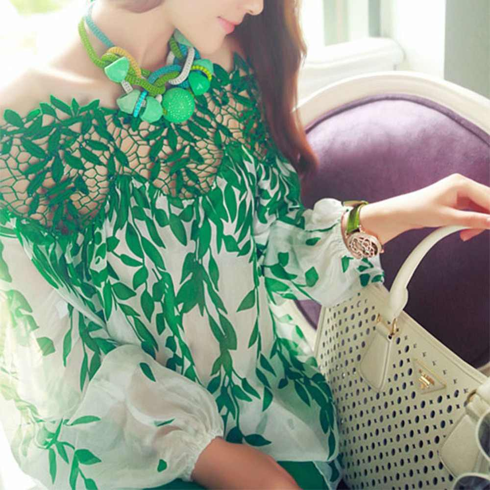 Women Fashion Hollow Lace Crochet Green Leaf Long Sleeve Loose Chiffon Shirt Top 2018 New