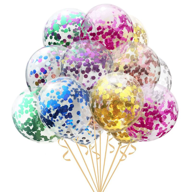 1Pc 12/18/36 Inches Transparent Latex Round Balloons Inflatable Glitter Confetti Baby Children Birthday Party Toys Balls