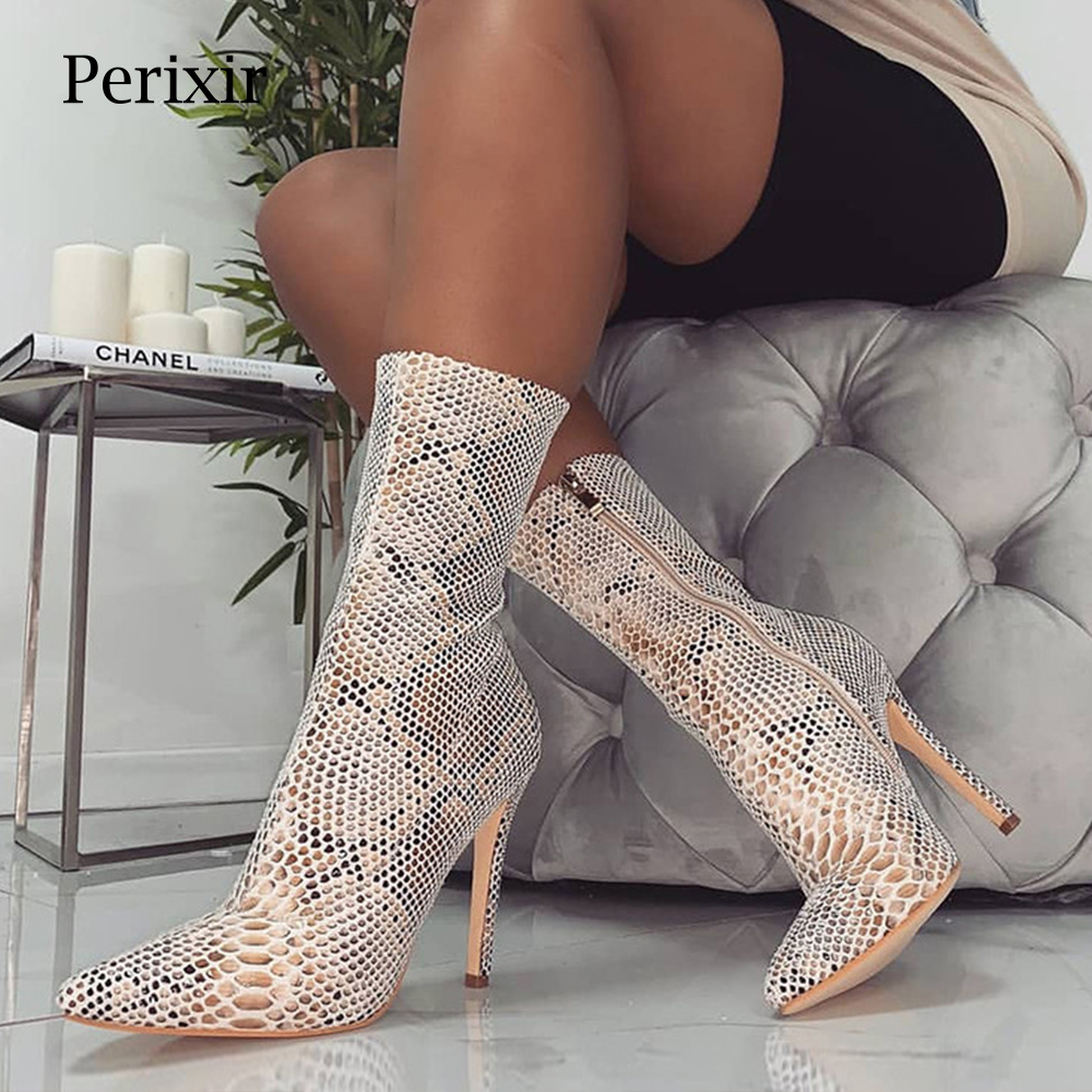 Women shoes Zipper Boots Snake Print Ankle Boots Thin Heels Fashion Pointed toe Ladies Sexy shoes