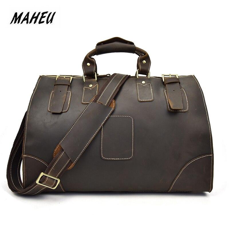 MAHEU High Quality Crazy Horse Leather Men Travel Handbag Grande Durable Male Cowhide Duffe Bag Tote