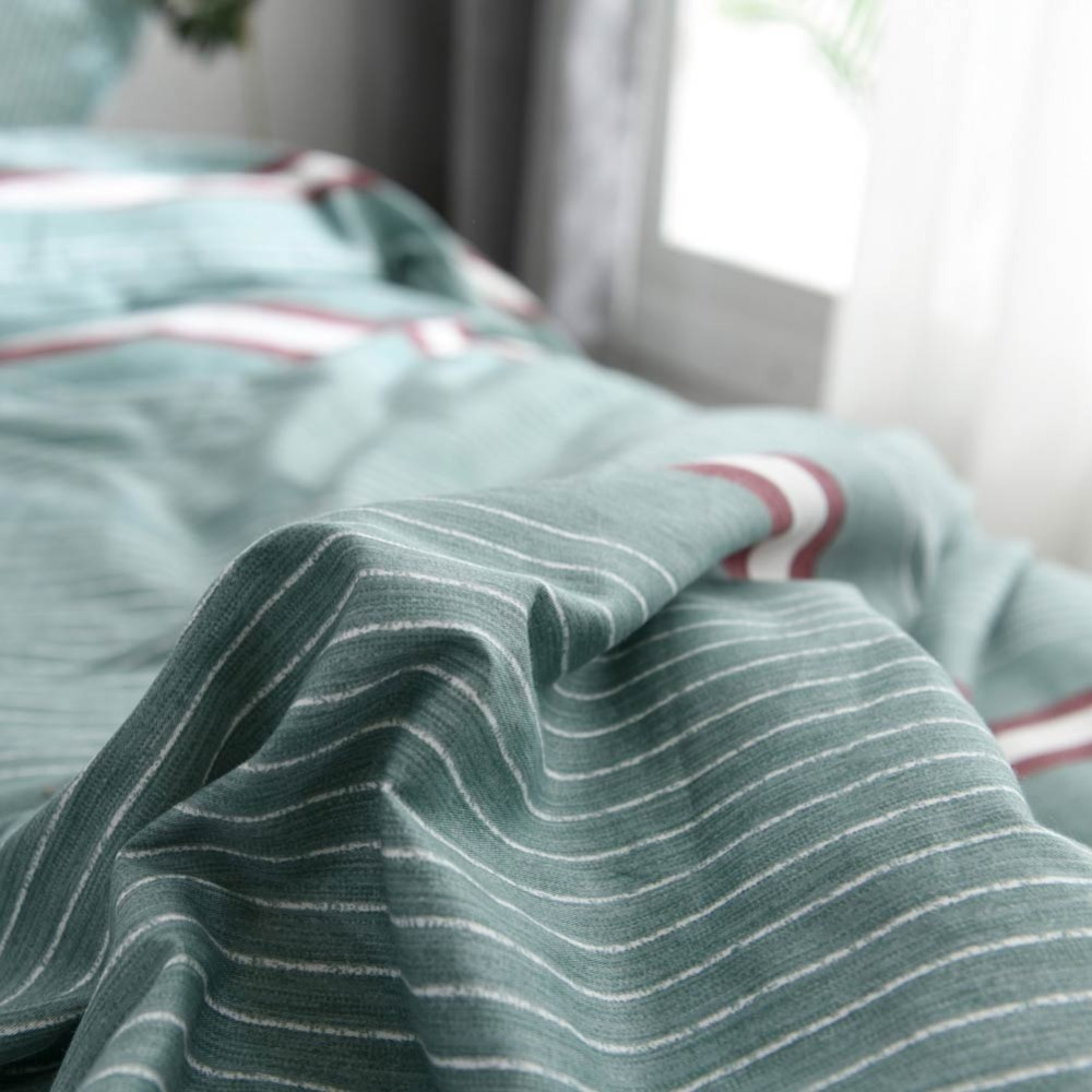 2019 PAPA MIMA Green Stripes Lines Bedlinens Twin Queen King Duvet Cover Set 2 3pcs Cotton Fabric Bedding Pillowcases in Bedding Sets from Home Garden