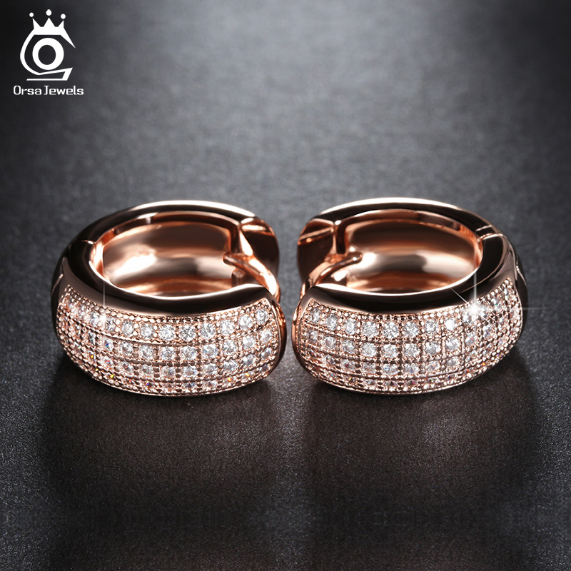 ORSA JEWELS Small Circle Earrings Full Set Luxe AAA Austrian Crystal Romantic Engagement & Wedding Gift voor Dames OE100