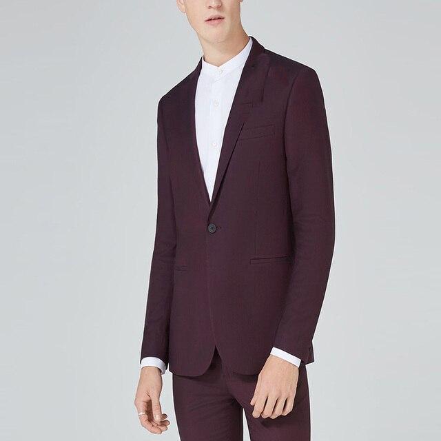Burgundy Business Suit Smart Casual Blazer Men For Wedding Party