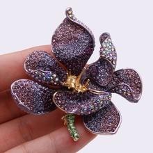 Tuliper, Рождественская брошь для женщин, брошь для женщин, значок, цветок, Орхидея, кристалл, вечерние ювелирные изделия, фиолетовый воротник, женска
