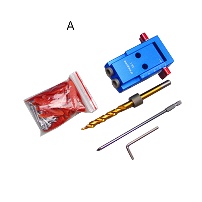 Pocket Hole Jig Kit System For Wood Working & Joinery + Step Drill Bit & Accessories Wood Work Tool Set With Box new 50mm concrete cement wall hole saw set with drill bit 200mm rod wrench for power tool
