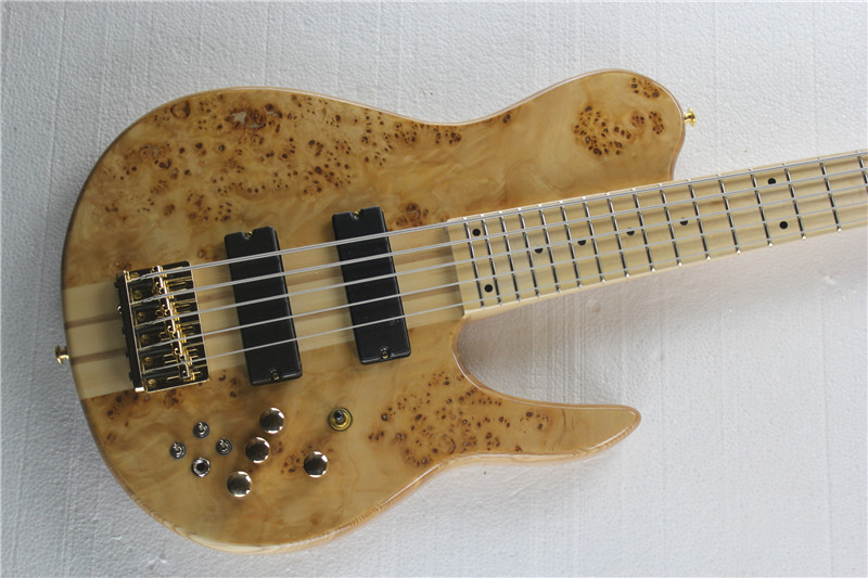 free shipping gold Top quality Natural 5 Strings Butterfly Electric Bass guitar Maple top Active Electric Guitar Bass 12yue