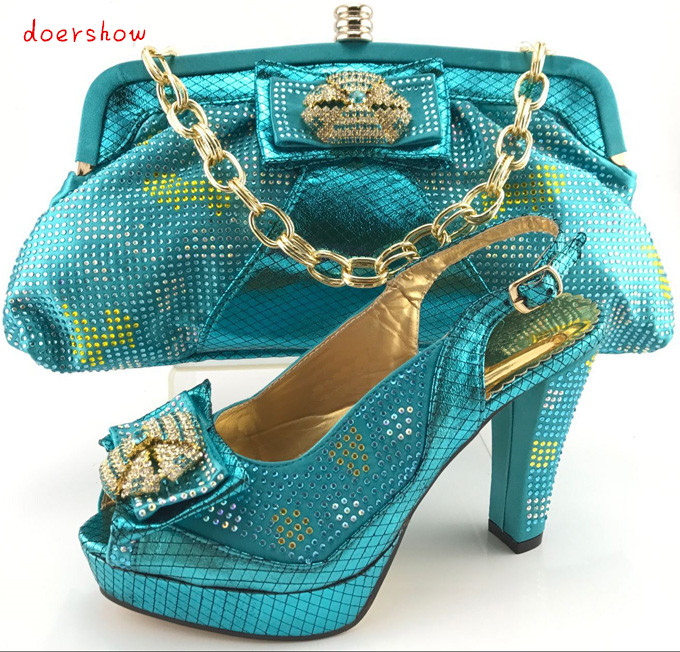doershow Free Shipping Italian Women Shoes And Bags To Match Set Sale Beaded African Matching Shoes And Purse PQS1-12 doershow fast shipping fashion african wedding shoes with matching bags african women shoes and bags set free shipping hzl1 29