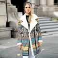 Высокое Качество Корейских Женщин Зимний Мех Пальто Мода Геометрия Pattern Повседневная Шерсти Овечки Куртки Большой Поворот Вниз Воротник Куртки AO068