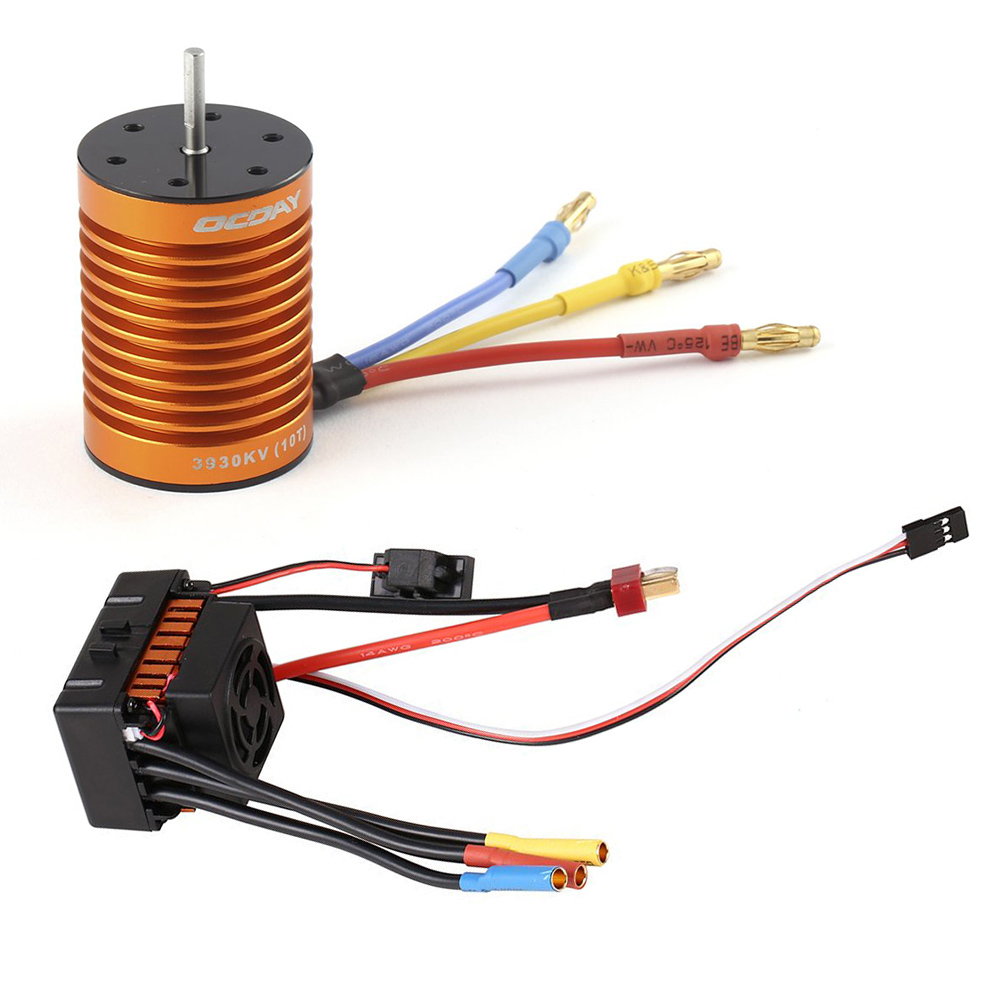 10T 3930KV 4 Poles Sensorless Brushless Motor and Waterproof 60A Sensorless Brushless Car ESC for 1/10 RC Car Truck Boat 1 10 80a adjustable sensored sensorless brushless esc for car truck