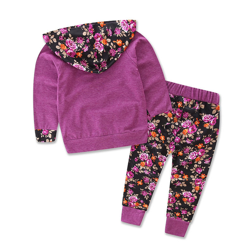 Toddler Baby Girl Floral Hooded Tops Shirt+Shorts Pants Tracksuit Outfit 2PCS UK