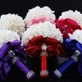 2016 Новый Невесты Свадебные Украшения Foamflowers Роза букет Невесты White Satin Романтический Свадебный букет Цветы Невесты