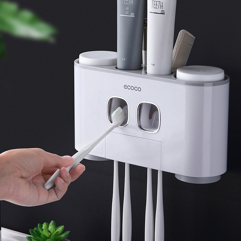 Auto Squeezing Toothpaste Dispenser Bathroom Accessories Modern Stylish Wall Paste Mounted Toothbrush Holder Toothpaste Squeezer image