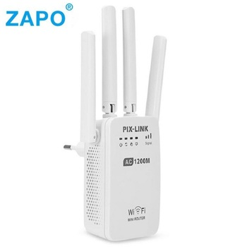 Dual Band AC 1200Mbps Wireless 2.4G / 5G Wifi Repeater 4 High Antennas Bridge Signal Amplifier Wired Router