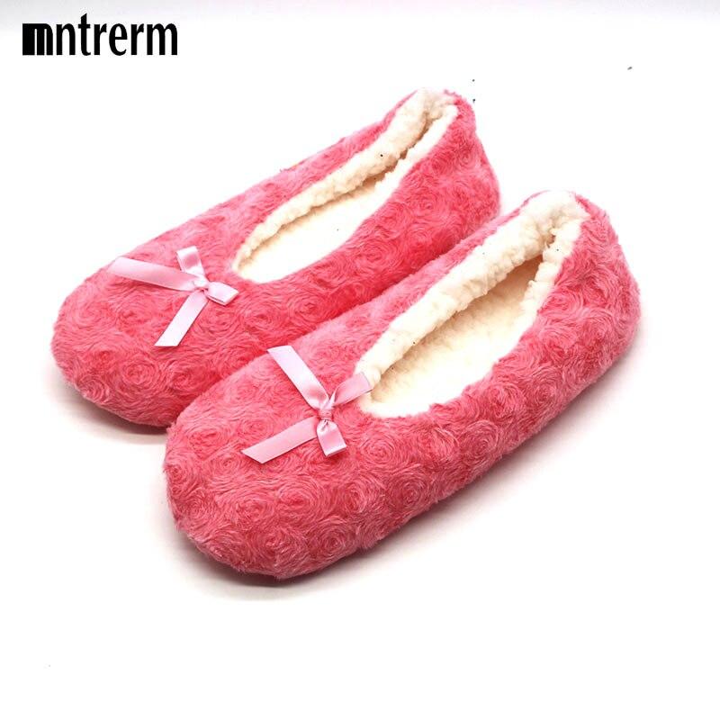 2017 cute bowtie warm winter women indoor slippers bedroom house