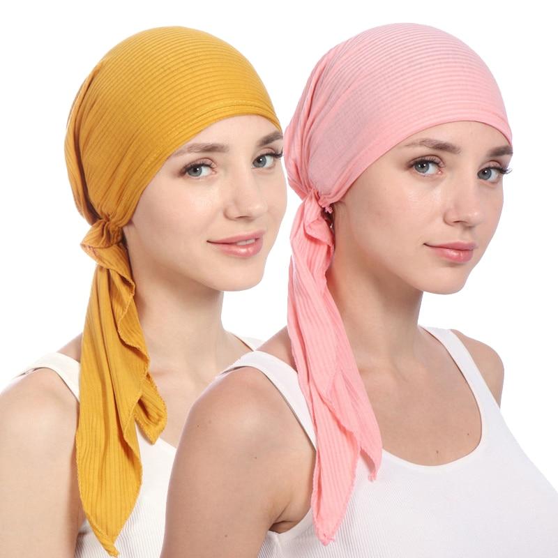 2019 New Cotton Turban Hat Women Soild Color Headscarf Bonnet Femme Musulman Foulard Hijab Caps Muslim Wrap Head Scarf Turbante
