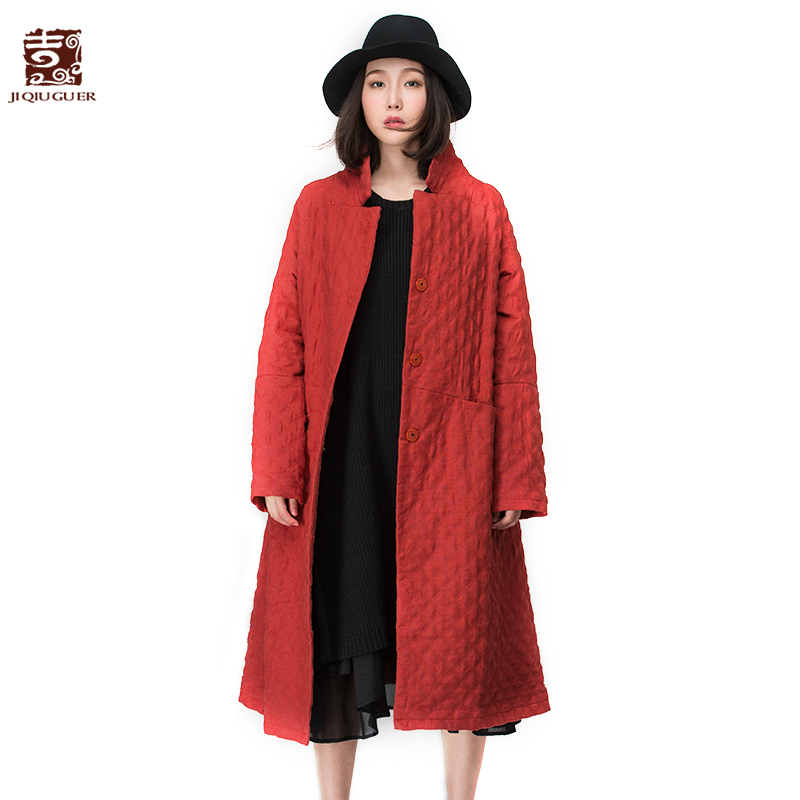ФОТО Jiqiuguer Design Women's Ethnic Long Cotton-Padded Jackets Stardard Collar Long Winter Embroidery Trench Jackets G114Y147