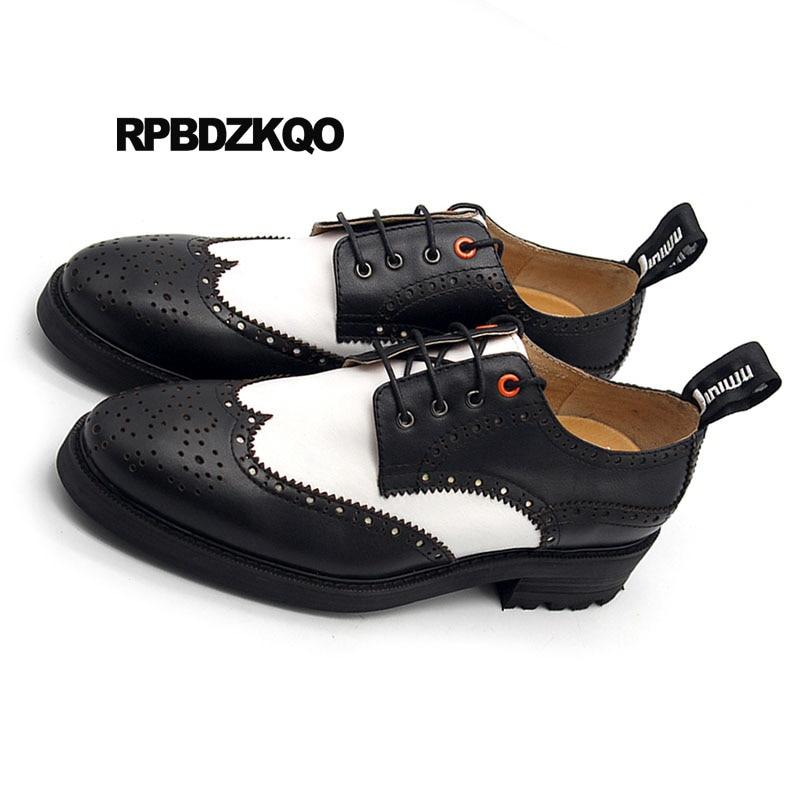 Main Oxfords Noir Blanc Creepers New Chaussures Black Pointu Plate White Wingtip Et Hommes À En La Cuir Véritable Printemps Brogue Occasionnels forme Marque Bout xwOqqAnz