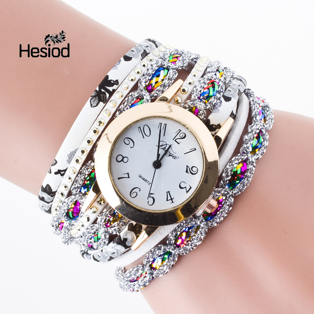 Fashion Synthetic Leather Crystal Watch Women's Bracelet Watches Roman Numeral R