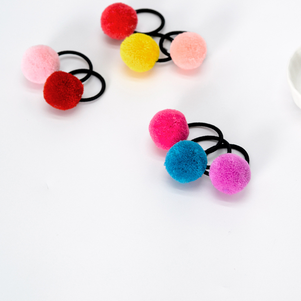 5pcs Pom Balls Elastic Hair Ties Ponytail Holder Girls Children Hair Bands Solid Color Elastic Hair Band Hair Styling Tools