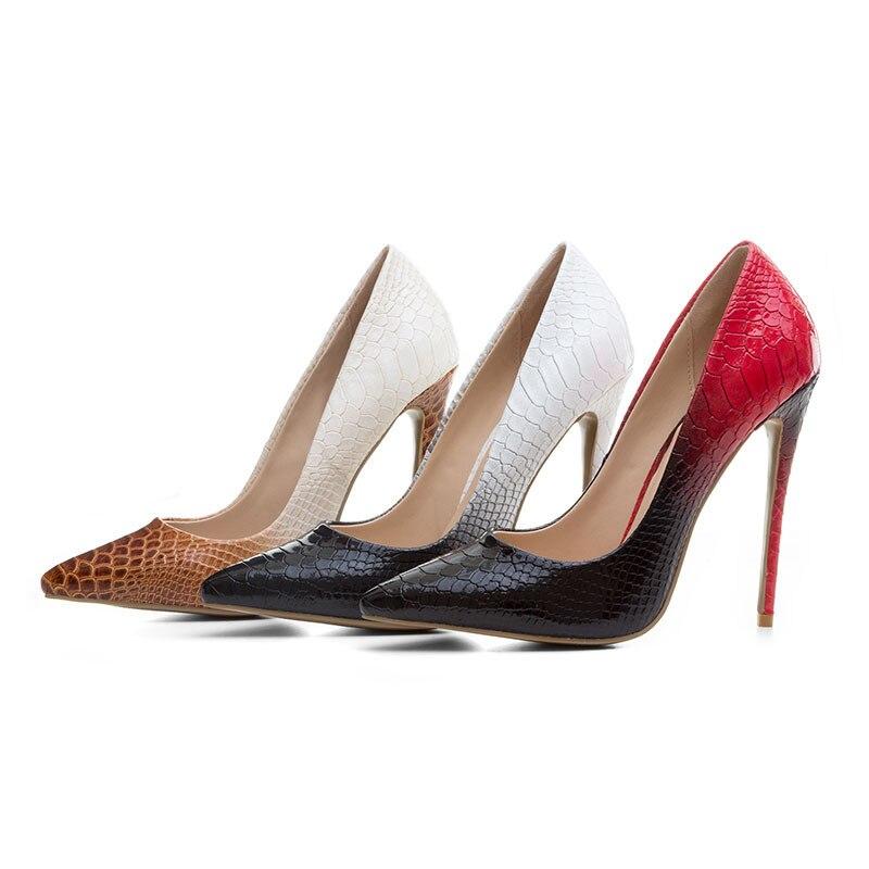 ab4cb1041166ed Stiletto HauteÀ Gradient Pompes Hauts Noir Bout Pointu Talons Soirée  Printemps chocolat 2018 Partie Automne Sexy Couleur rouge Femmes Chaussures  De Haute ...