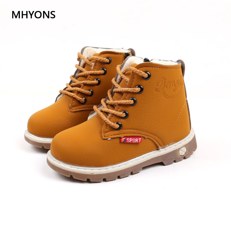 MHYONS Shoes 2018 Winter Girls Boots Boys Plush Children Snow Motorcycle Boots Lace-Up Rome Martin Boots Winter Kids Shoes