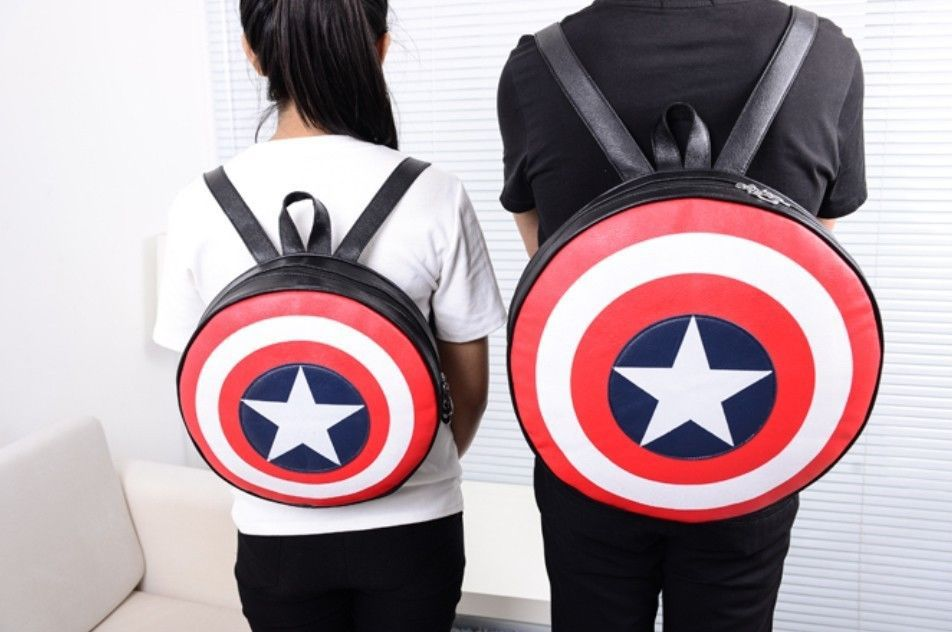 2017 New Fashion Marvel Avengers Captain America Shield Student Backpack Children Book Circular School Bag Kid Birthday Gift In Backpacks From Luggage