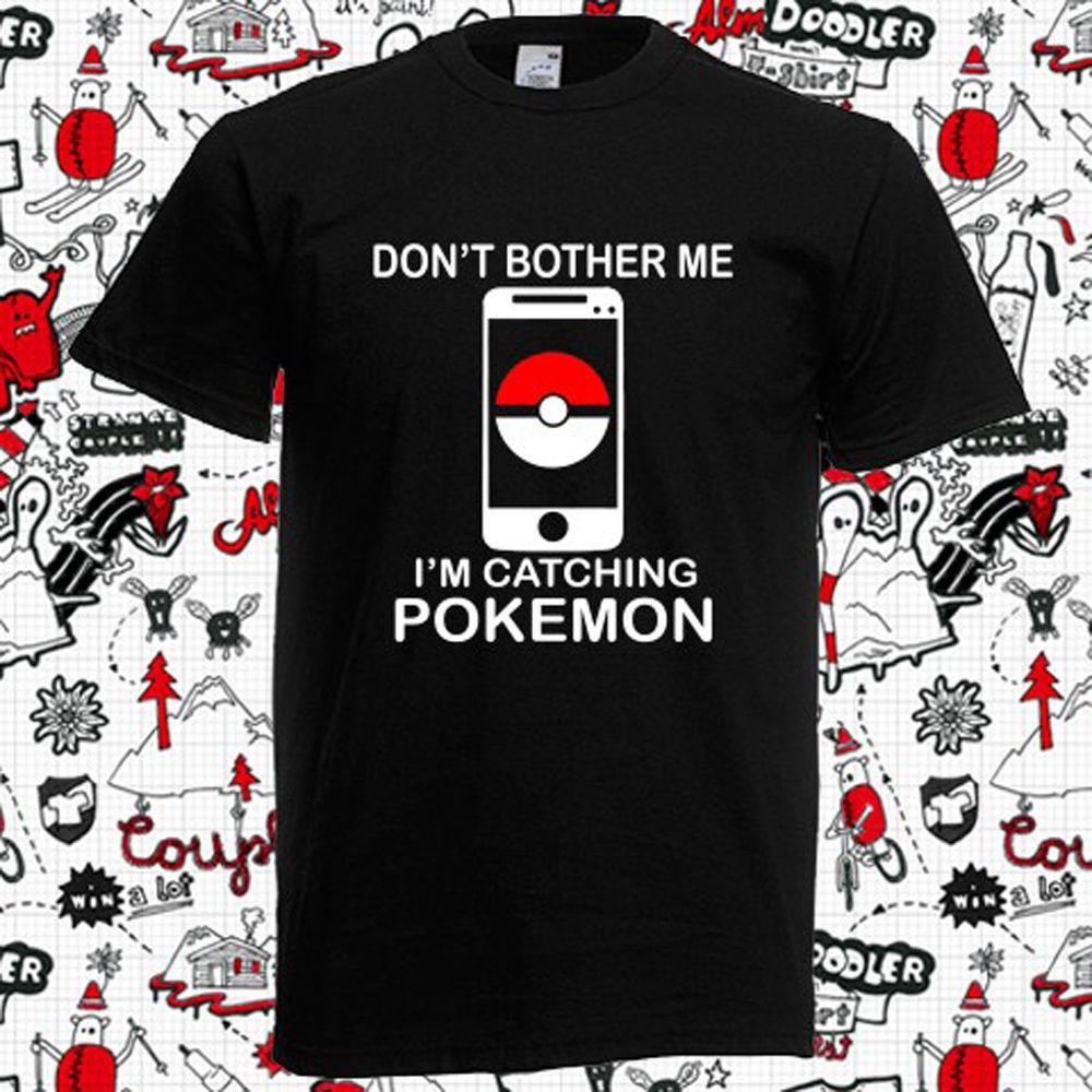 New Pokemon Go Funny Logo Phone Video Games Mens Black T-Shirt Size S-5XL