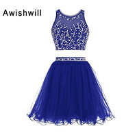 New Arrival Short Graduation Party Dress Beaded Tulle Two Pieces Homecoming Dresses for Juniors Short Prom Dress Keyhole Back