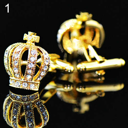 Stainless Steel Men's Wedding Shirt Business Crown Shiny Rhinestone Cufflinks Shiny Rhinestone Cufflinks Jewelry Crown Shaped