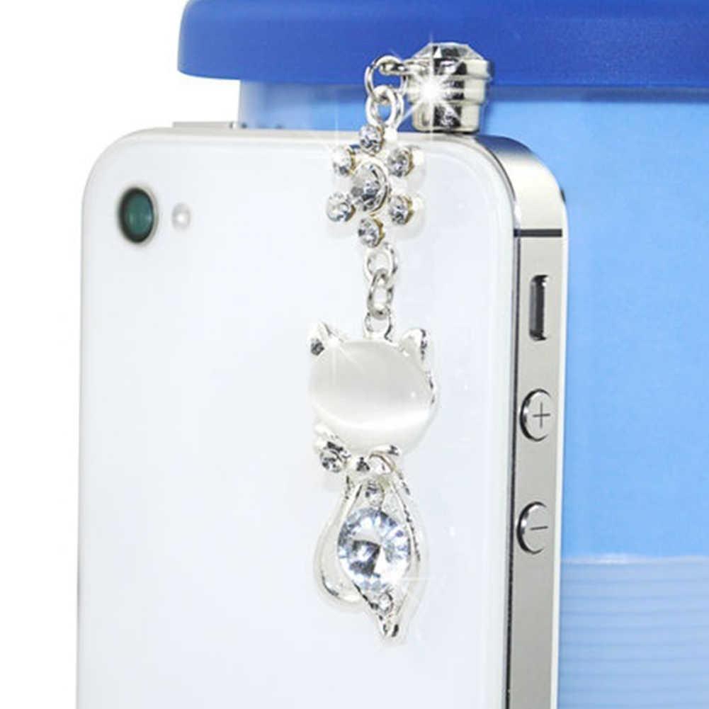 Rhinestone แมว Anti-DUST 3.5 มม.หูฟังสำหรับ IPhone สำหรับ Samsung และโทรศัพท์มือถือ Universal ป้องกันฝุ่นปลั๊กโทรศัพท์อุปกรณ์เสริม