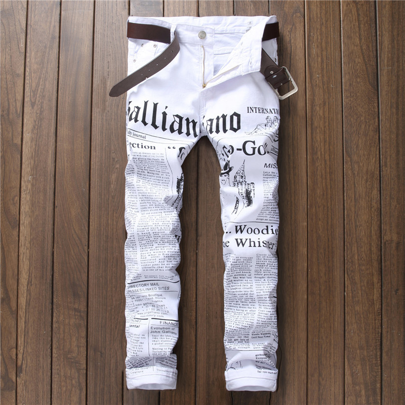 Pant Men Trousers Newspaper Stretch Slim-Fit Printed White Casual Denim for Male