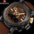 Homens esporte relógios naviforce marca homens relógio display duplo analógico digital led eletrônico relógios de quartzo 30 m à prova d' água relógio masculino