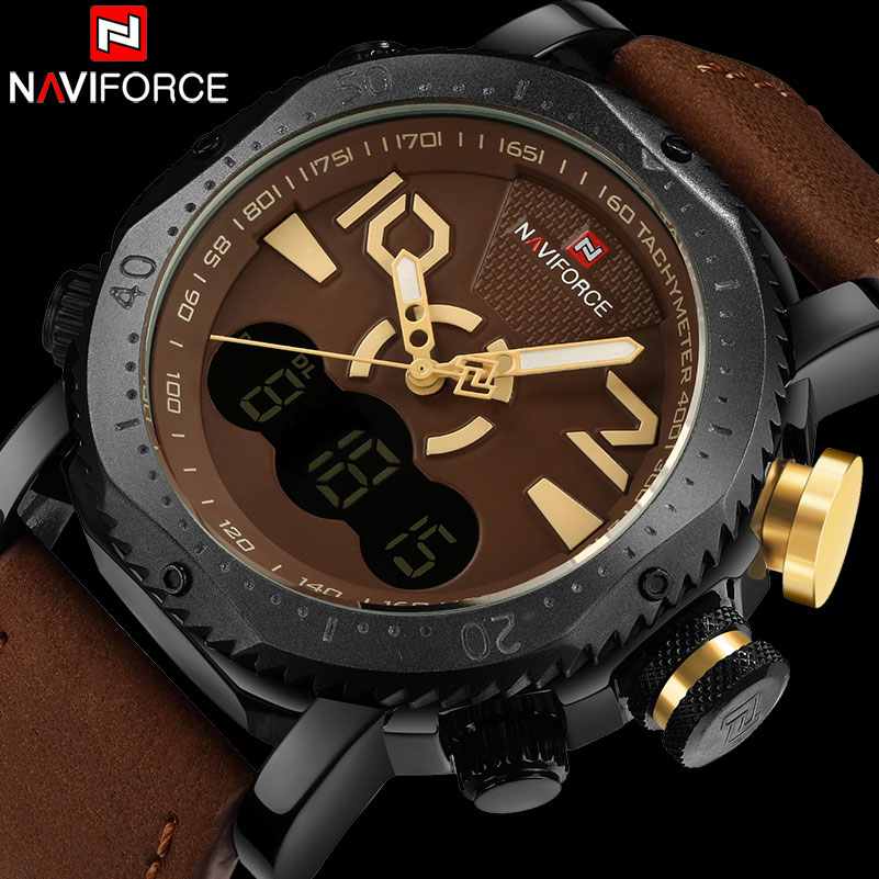 men sport watches NAVIFORCE brand dual display watch men LED digital analog Electronic quartz watches 30M