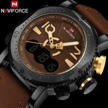 Hombres relojes deportivos naviforce marca dual display reloj de los hombres led digital analógico de cuarzo electrónica relojes 30 m impermeable reloj masculino