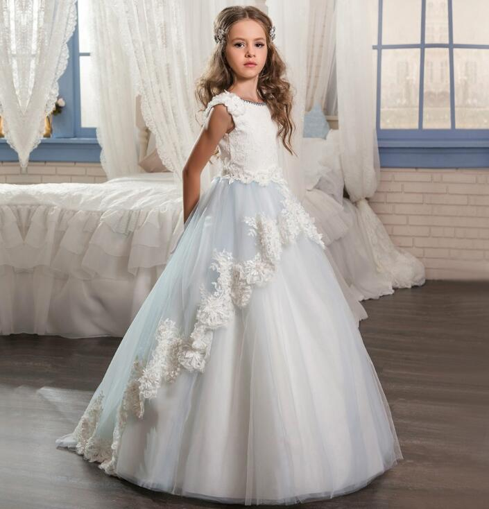 Ball Gown   Flower     Girl     Dresses   2018 Long Pageant   Dresses   For Kids Appliques Baby   Dress   For Weddings Puffy Formal   Dress   M2574