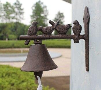 Fonte Bienvenue Dîner Cloche Oiseaux Sur Perche Montage Mural Suspendu Porte Cloche Primitif Brun Maison Jardin Extérieur Décoration Pays