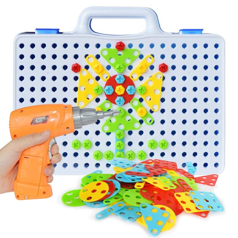 Elektrische Bohrer Schraube Gruppe Spielzeug Mutter Demontage Spiel Puzzle Pädagogisches Spielzeug Montiert Blöcke Sets Design Gebäude Spielzeug für Jungen